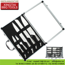 with aluminum case bbq knife and fork