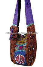fashion bag canvas cotton shoulder hippie bags indan stone wash cotton handbag CB530