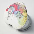 pu abrangidos moldura de metal samll em forma de coração vintage espelho compacto