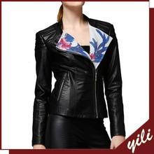 Alibaba BV Certificate Factory Own Design!!!2015 Wholesale Zipper Open Sleeve Printing Ladies Black Women PU Leather Jacket