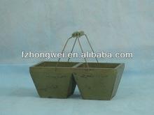 Hongwei Handmade Antique&Retro Green Wooden Flower Pot/Planter with Handles for Garden Decor,High Quality,Durable&Eco-friendly