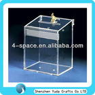China 3mm Clear Acrylic Storage Boxes Plexiglass Donation Box With Key Lock supplier standing donation boxes