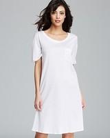 Round Neck Ladies Plain White Cotton Nightshirts