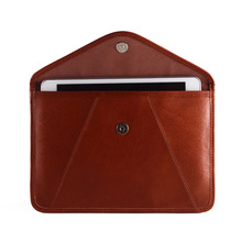 dark brown leather for ipad cover tablet case pouch with magnet snap for 2014