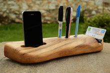 Handmade Beech Wood organizer Pen Organizer Phone Dock Phone Stand Business and Creditcard holder