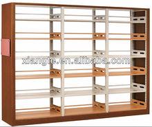 Scuola durevoli biblioteca mobile doppio- colonna due lati di acciaio di legno scaffale, bifacciale libro scaffale