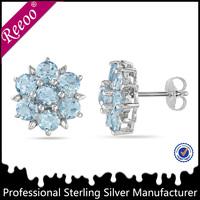 crown setting blue aquamarine color CZ stud earrings spanish jewelry designers