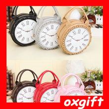 OXGIFT fashion clock women shoulder bag,PU lady handbag,girls mini bag