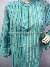 KTMK-2 Standing Collar Style Pure Cotton Mens Kurta Long Free Size Indian Fashion Unisex Clothing From Jaipur