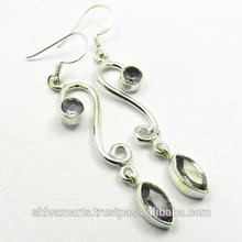 Amethyst stone 925 silver earrings,925 silver earring semi precious stone jewellery wholesale silver jewellery