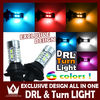High Power 20W Dual Color White/Amber LED DRL Daytime Running Lights Replacement 7740/BAY15S/BA15S/3156 Car Bulb Turn Function