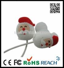 cute cartoon earphone,Santa Claus earbud,Christmas gift earphone