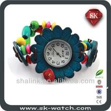 2014 popular girls elastic strap coconut flower wooden watch