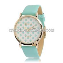 Fancy Dots Face 7 Colors in Stock Women Leather Bracelet Watch