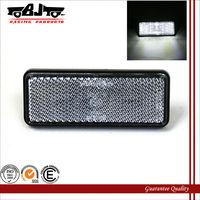 BL-001CR Custom12V Rectangle Motorcycle ATV White LED Reflectors White Lens Brake Light Blinker