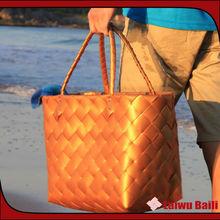 Handmade colorful shiny PP cheap straw beach bag