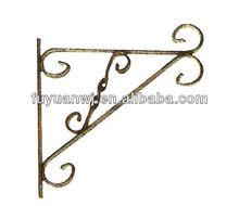antique metal flower basket hanging hook in wall
