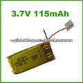 China fabrico 3.7v 115 mah de lítio polímero bateria elétrica para relógios, rastreamento por gps e bluetooth