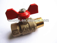 FemaleXMaleThread full port brass ball valve with butterfly red handle CSA IAPMO
