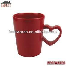 Solid color fashion melamine mug heart shaped handle