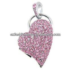 Wholesale Jewelry Heart USB Thumb Drive crystal USB flash drive for girls