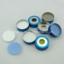 20mm White PTFE/White Silicone Septa, 20mm Crimp-top Blue Magnetic Aluminum Cap used for HPLC
