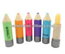 multi-colored pencil type lip balm container lip balm