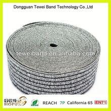 Silver shiny trim elastic band with metallic yarn