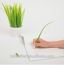 S032 custom Grass shape color small plastic writing ballpoint pen wholesale
