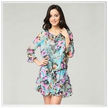 2014 custom high quality digital printing woman dress