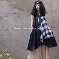 2014 nueva moda vintage gorra de algodón maxi de la tela escocesa mujeres del vestido jumper