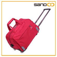 Factory audit journey trolley wheelie bag, lady canvas travel handbag with wheels