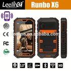 2014 wholesale Runbo x6 ptt walkie talkie nfc android smartphone waterproof nfc reader waterproof handphone