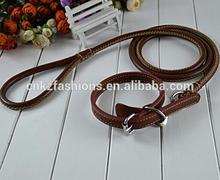 1 Set Brown genuine leather Big Dog Leash Training Walking with belt collar