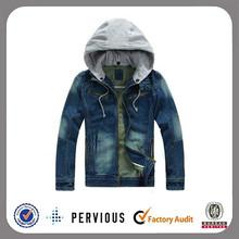 wholesale fashion plain zipper men's denim jacket with fleece hoody