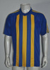 embroidered v neck blue yellow 100% polyester men wholesale custom soccer t-shirt