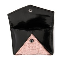 Snake embossed nubuck and patent leather envelope style coin pouch