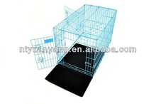 blue Portable Folding Dog Pet modular Crate Cage Kennel Two Door ABS Tray