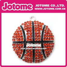 Orange Black Cross Basketball Shaped Fashion Rhinestone Necklace Match Pendent for Sport Item