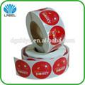 Caliente venta personalizada de impresión de la etiqueta, ronda de pegatinas en el rodillo