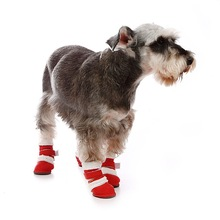 Russia Suede fabric fur dog boots
