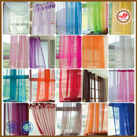 Cheap high quality colourful transparent terylene curtain fabric meet customer voile