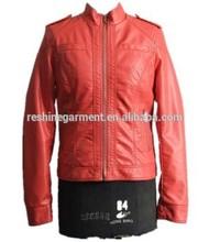 Orange jacket Washed Ladies pu leather jacket