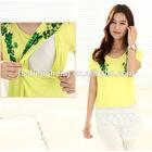 Yellow lace breastfeeding top pregnant women long t-shirt green printing nursing top BK171