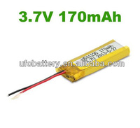 Small rechargeable li-polymer 3.7v 170mah 501235 for pen camera, bluetooth headset, electric toothbrush