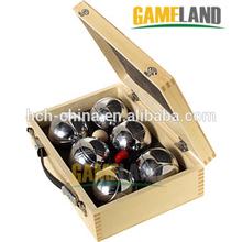 Boccia juego 6 de Metal petanca bola Boule en caja de madera petanca petanca