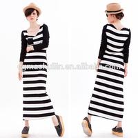 New fashion alibaba ladies 100% Cotton Strip Dress Designer One Piece Dress Long Maxi Dress