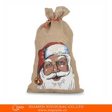 Feliz navidad bolsa de yute bolsas de cordón, santa sacos de yute, la bolsa de arpillera