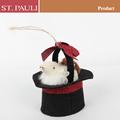 pulgadas 5 ornamento de la navidad sombrero con el ratón