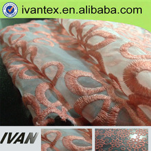 flower printed embroidered organza fabric